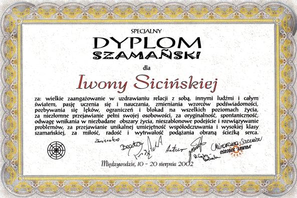 Specjalny Dyplom Szamański otrzymany od moich studentów